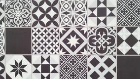 Portuguese tiles pattern Lisbon seamless black and white tile design in Azulejos vintage geometric. Ceramics stock photo