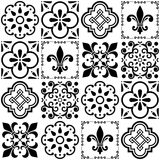 Portuguese  tiles pattern, Lisbon seamless black and white tile design, Azulejos vintage geometric ceramics Royalty Free Stock Images