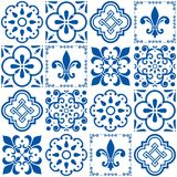 Portuguese  tiles pattern, Lisbon seamless indigo blue tile design  Royalty Free Stock Photo