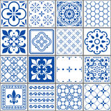Portuguese tiles pattern, Lisbon seamless indigo blue tiles, Azulejos vintage geometric ceramic design Royalty Free Stock Images
