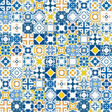 Portuguese tiles. Seamless mosaic pattern made of llustrated tiles - like Portuguese tiles Stock Image