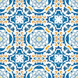 Portuguese tiles. Seamless pattern illustration in blue and orange - like Portuguese tiles Royalty Free Stock Photo