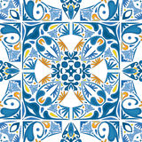 Portuguese tiles. Seamless pattern illustration in blue, yellow and orange - like Portuguese tiles Stock Images