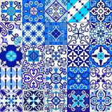 Portuguese tiles seamless pattern vector with blue and white ornaments. Talavera, azulejo, mexican, spanish or arabic motifs. Portuguese tiles seamless pattern vector illustration