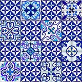 Portuguese tiles seamless pattern vector with blue and white ornaments. Talavera, azulejo, mexican, spanish or arabic motifs. Portuguese tiles seamless pattern stock illustration
