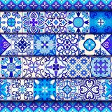 Portuguese tiles seamless pattern vector with blue and white ornaments. Talavera, azulejo, mexican, spanish or arabic motifs. Portuguese tiles seamless pattern royalty free illustration