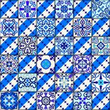 Portuguese tiles seamless pattern vector with blue and white ornaments. Talavera, azulejo, mexican, spanish or arabic motifs. stock photography