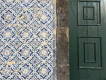 Portuguese tiles on a wall stock image