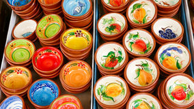 Portuguese traditional clay bowls Stock Photos