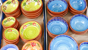 Portuguese traditional clay bowls Stock Photography