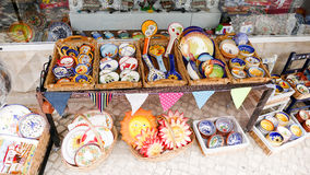 Portuguese traditional clay plates and bowls Royalty Free Stock Image