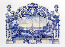 Portuguese Traditional Hand Painted Tin-glazed Ceramic Tilework, Azulejo Stock Image