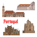 Portuguese travel landmarks thin line icon set. Portuguese travel landmarks of religious architecture thin line icon set. Roman Catholic Convent of Christ Stock Photography