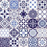 Portuguese vector Azulejo tile seamless pattern, Lisbon retro old tiles mosaic, Mediterranean repetitive navy blue textile design. Ornamental pretty background stock illustration