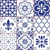 Portuguese vector tile seamless pattern, Azluejo tiles mosaic in navy blue, abstract and floral designs Royalty Free Illustration