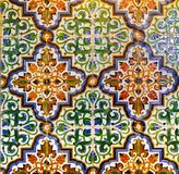 Portuguese Vintage Geometrical Pattern Glazed Tiles, Handmade Azulejos, Portugal Street Art, Abstract Background Royalty Free Stock Photo