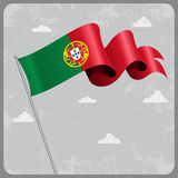 Portuguese wavy flag. Vector illustration. Stock Photography
