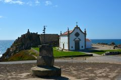 The Portuguese way of the pilgrim along the coast in Santiago de Compostela, the first day of Matosinhos - Vila de Conde. Portugal Stock Photos