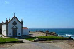The Portuguese way of the pilgrim along the coast in Santiago de Compostela, the first day of Matosinhos - Vila de Conde. Portugal Stock Photography
