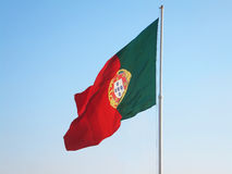 Portuguesel Flag. Portuguese Flag on Pole Against Clear Sky Stock Image