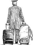 Portvakt med resväskorna Royaltyfri Bild