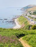 Portwrinkle kustWhitsand fjärd Cornwall England Förenade kungariket på banan för södra västkusten Arkivfoton