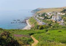 Portwrinkle kustWhitsand fjärd Cornwall England Förenade kungariket på banan för södra västkusten Royaltyfria Foton