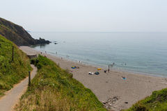 Portwrinkle海滩Whitsand海湾康沃尔郡英国 库存照片