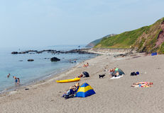 Portwrinkle海滩Whitsand海湾康沃尔郡英国 免版税库存照片
