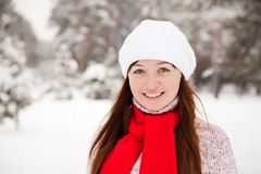 Porty girl  at winter park Royalty Free Stock Photo