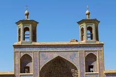 Portyk Nasir-ol-molk meczet, Shiraz, Iran obraz royalty free