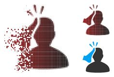 Poruszająca piksla Halftone Kickboxer ikona royalty ilustracja