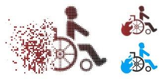 Poruszająca piksla Halftone oparzenie pacjenta ikona royalty ilustracja