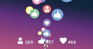 Poruszające ogólnospołeczne medialne ikony 4k royalty ilustracja