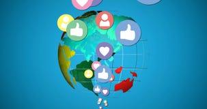 Poruszające ogólnospołeczne medialne ikony z kulą ziemską 4k ilustracja wektor