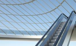 Poruszający eskalator i nowożytny budynek biurowy Obrazy Royalty Free