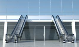 Poruszający eskalator i nowożytny budynek biurowy Zdjęcia Stock