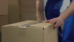 Poruszający usługowy pracownik pakuje out pudełko i bierze, przeniesienie usługa, migracja zbiory wideo