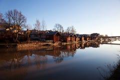 Porvoo Финляндия Классические старые деревянные дома стоковое фото
