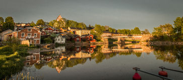 Porvoo Cityscape Old Town. POrvoo Old Town during sunset in summer Stock Images
