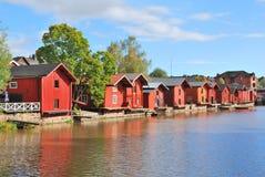 Porvoo Finland. Gammala trähus Arkivfoto