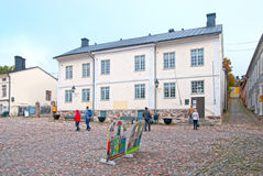Porvoo. Finland. The Holm House. PORVOO, FINLAND - OCTOBER 18, 2015: Old town. Holm House. The building dates from 1762 and was once the home of a family of royalty free stock photo