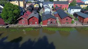 Panorama of the old Porvoo, Sunny July day. Finland aerial video stock video