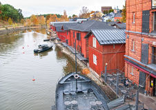 Porvoo finland La sponda del fiume di Porvoonjokl Immagini Stock Libere da Diritti
