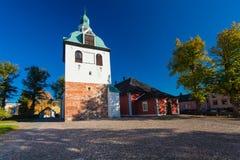 PORVOO, FINLAND - Oktober 08, 2016: De klokketoren van de middeleeuwse kathedraal in stad Porvoo Royalty-vrije Stock Foto