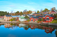 Porvoo. Finland. The Old Town. The River Porvoonjoki Bank with the wooden buildings in the Old Town. Autumn view. Porvoo. Finland stock photos