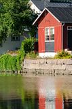 Porvoo, Finland. Old wooden red houses on riversid Stock Images