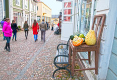 Porvoo. Finland. People in the Old Town Royalty Free Stock Photography