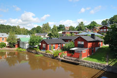 Porvoo, Finland. Wooden houses near the water Royalty Free Stock Images