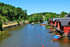 Porvoo. Old houses on the riverside Stock Images